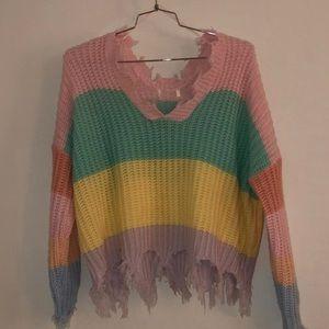 Sweaters - Pastel Striped Sweater
